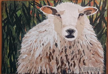 Heartbreaker, sheep paper painting