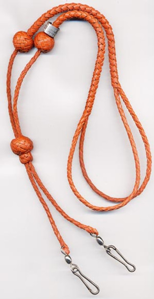 Tan 4-Strand Double Whistle Lanyard in Adjustable Form, no Knots on Clip ends