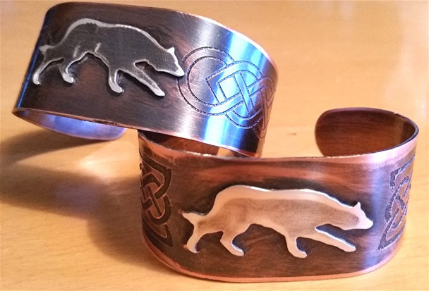 Sterling and Copper Bracelet cuffs