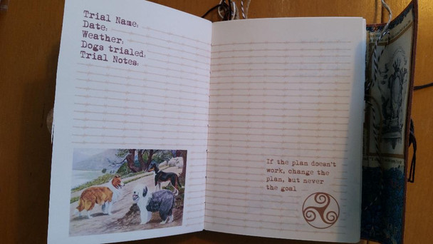 Vintage dog image and quote along with Celtic symbol on a journal page