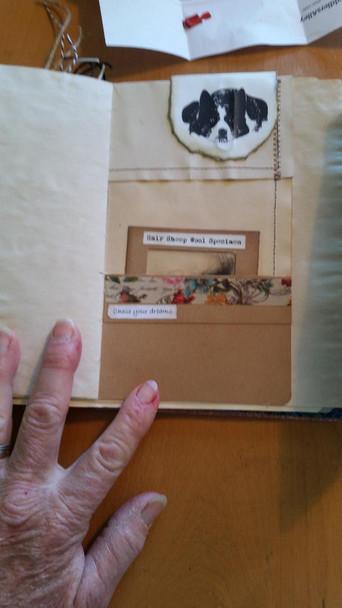 Border collie clip and inside pocket is a wool specimen card
