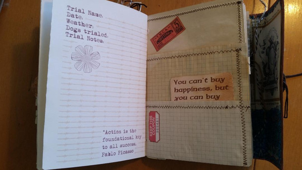 Three pages shown, left is a journal page, right is a gridded half pocket page with card inside.  larger page behind has a scan of ephemera YMCA lunch card.