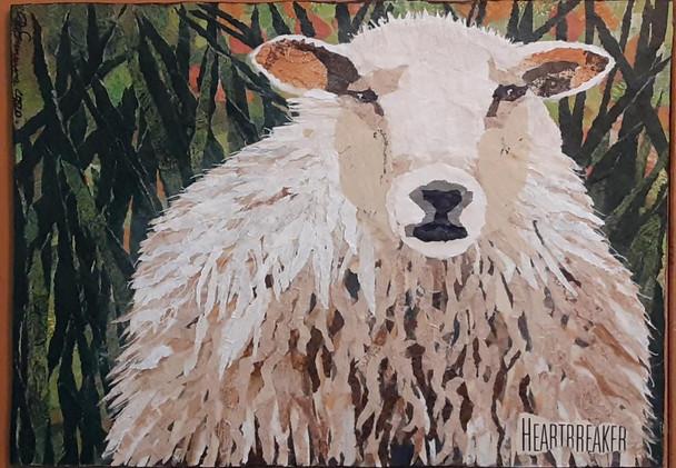 Heartbreaker, sheep paper painting