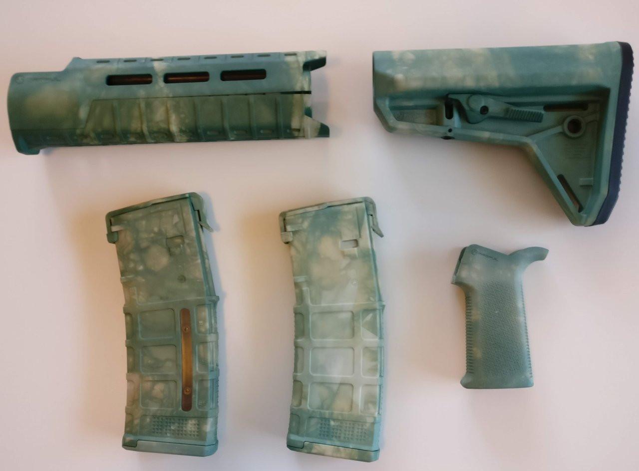 Magpul Ar 15 Custom Dyed Moe Sl Carbine Length 5 Piece Kit Green Camo 2