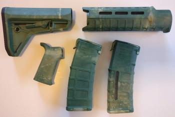 Magpul AR-15 Custom Dyed MOE SL Carbine Length 5 piece Kit Green Camo #3
