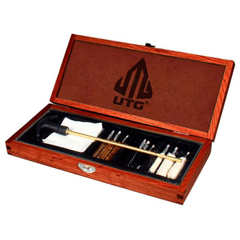 UTG Deluxe Pistol Cleaning Kit in Wood Case .22, 9mm and .45 Cal. Pistols