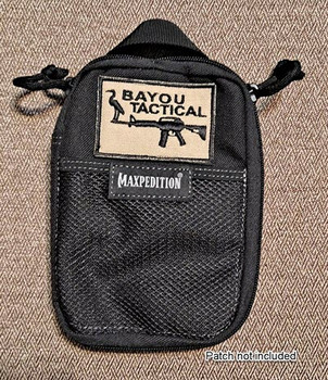 Maxpedition E.D.C. Pocket Organizer - Black  SKU 0246B with Bayou Tactical patch