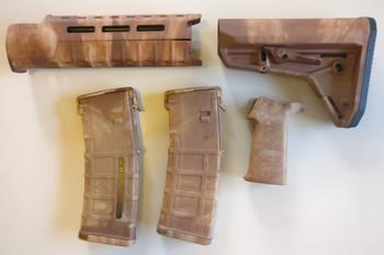 Magpul AR-15 Custom Dyed MOE SL Carbine Length 5 piece Kit Tan Camo #3