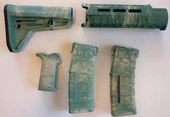 Magpul AR-15 Custom Dyed MOE SL Carbine Length 5 piece Kit Green Camo #2