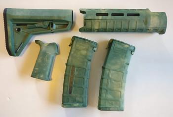 Magpul AR-15 Custom Dyed MOE SL Carbine Length 5 piece Kit Green Camo #4