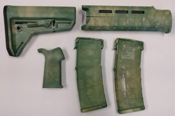 Magpul AR-15 Custom Dyed MOE SL Carbine Length 5 piece Kit Green Camo #1