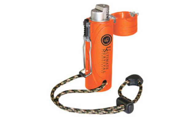 Designed for extreme wind and water resistance, the UST Trekker Stormproof Lighter features a stainless steel wire closure that stands up to rugged outdoor use and an easy-grip rubberized case in high visibility orange.