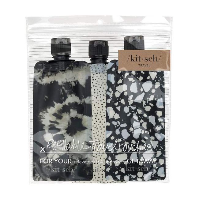 Kitsch Refillable Travel Pouch Set Black Ivory