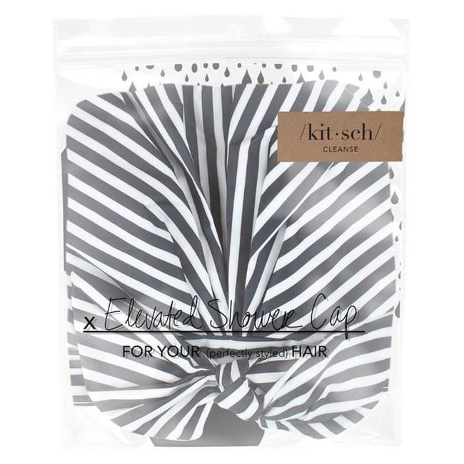 Kitsch Luxe Shower Cap - Black and White Stripe