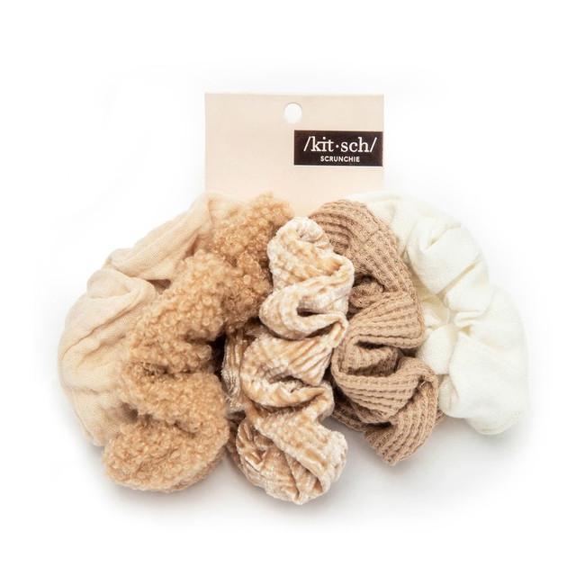 Kitsch Assorted Textured Scrunchies - Sand