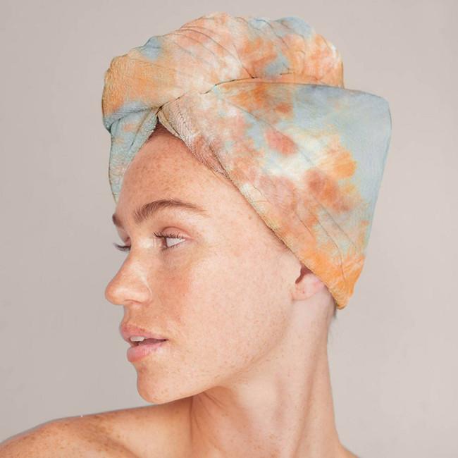Kitsch Microfiber Hair Towel Tangerine Tie Dye