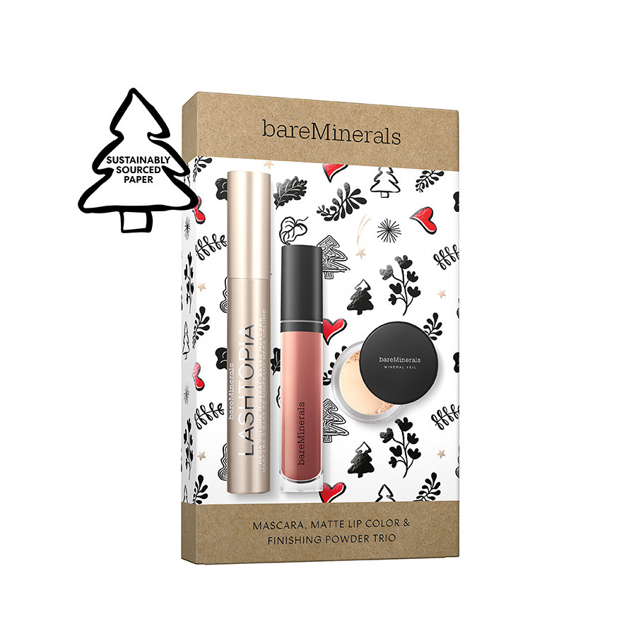 bareminerals mascara, lip, powder trio