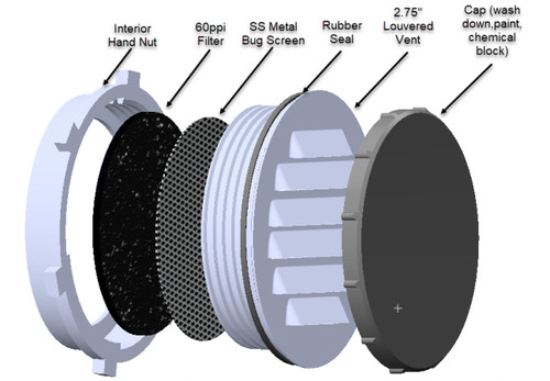2.5 inch Louvered Vent With Cap, Seal, Bug Screen, Filter  -  Black