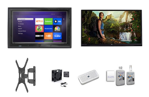 """32"""" rca TV and outdoor TV enclosure ultimate kit, fan, heater, cleaning solution and mount"""