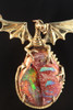 Dragons Eye - Mexican Matrix Opal Pendant - 18K Gold