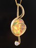 Treble Clef Opal Pendant with Rainbow Moonstone - 18K Gold
