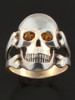 Large Skull and Crossbones Ring with Yellow Citrine Eyes