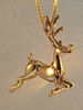 Christmas - Rudolph Reindeer Charm - 14k Gold with Ruby