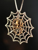 Bronze Black Widow Charm With Silver Spider Web Charm Without Chained Spider