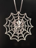 Silver Black Widow Spider Charm on Silver Spider Web Charm