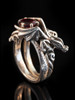 Cloud Dragon Ring Silver with Rhodolite Garnet