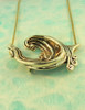 Solid 14k Gold Rip Curl Wave Pendant