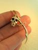 14k Gold Skull and Scimitar Pendant