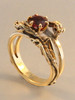 Double Dragon Eternity Ring 14k Gold with 1 ct Rhodolite Garnet