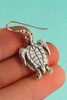 Sea Life - Sea Turtle Charm Earrings - Silver