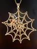 Large Gold Spider Web Pendant with Silver Spider and Garnet - 14k Gold