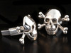 Cuff Links - Large Skull and Crossbones Cuff Links - Silver
