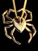 Gold Spider Heart Pendant - 14K Gold