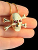 Large Skull and Crossbones Pendant - Ruby Eyes - 14k Gold