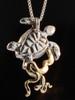 Wave Rider, Opal Back Sea Turtle Pendant - 14k Gold & Silver