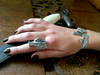 Model wearing Valor Dragon Ring and Gothic Dragon Cuff