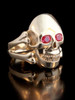 Large Skull and Crossbones  Ring  - Ruby Eyes -14K Gold