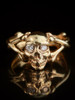 Skull and Crossbones Ring with Diamond Eyes in 14k Gold