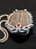 Trilobite Fossil Pendant with Gemstone - Silver