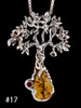 Primeval Forest Tree Pendant # 17 with Dendritic Quartz and fire citrine