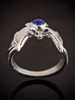 Silver Classic Bat Ring with Gemstone Back with Lapis