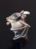 Silver Classic Bat Ring with Gemstone Back with Moonstone