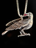 Sterling Silver Raven with Ruby in Beak