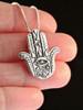 Eye of Protection Hamsa Hand Charm - Silver