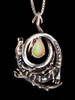 Curled Dragon Pendant with Faceted Ethiopian Fire Opal - Silver