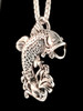 Jumping Bass Fish Pendant in Silver